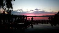 Dramatic sunset in Hangzhou West Lake, China