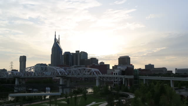 A dramatic time lapse of the sun setting over downtown Nashville, Tennessee.