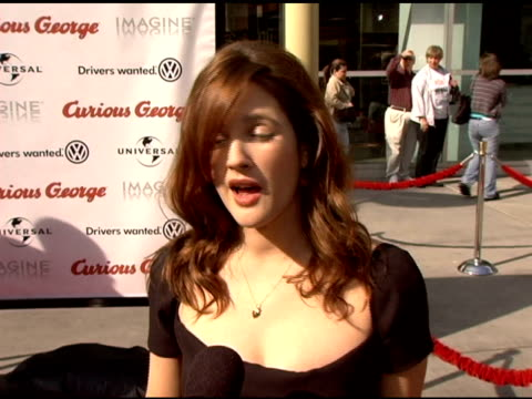 Drew Barrymore on her love for animation and the classic style of Curious George at the 'Curious George' Premiere on January 28 2006