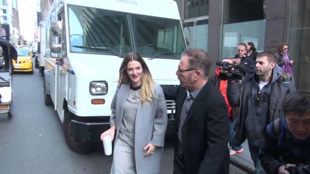 Drew Barrymore promoting her book 'Wildflower' leaving The Howard Stern Show on SiriusXM Satellite Radio in Celebrity Sightings in New York