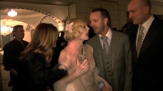 HD Drew Barrymore walking w/ group in crowded Pierre Hotel lobby