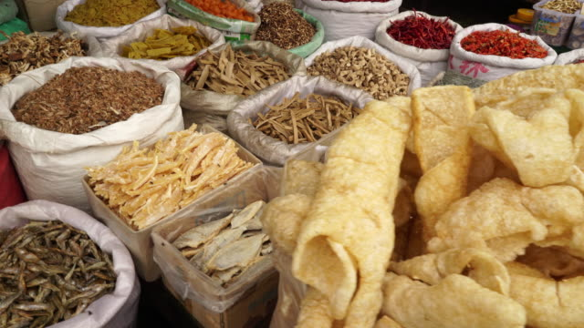 Dried food in asian market in China