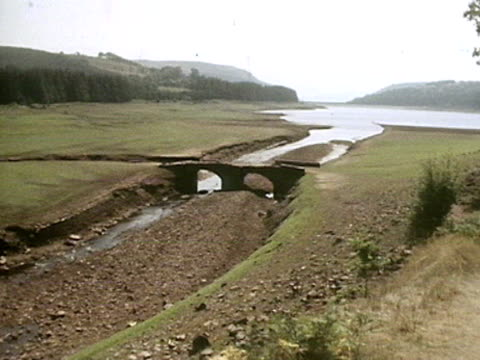 A driedup riverbed and low reservoir during the UK drought of 1976