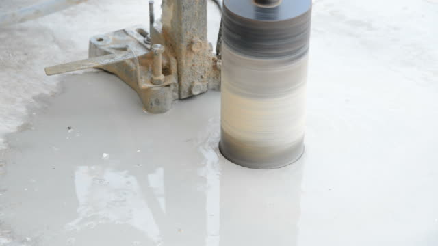 Drilling concrete used in the construction and building industry.