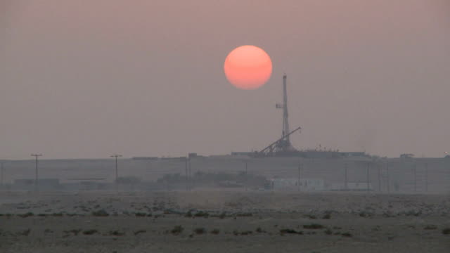Drilling Rig At Sunset Timelapse