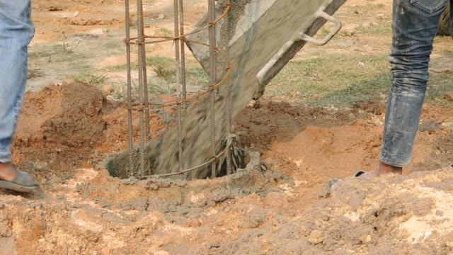 Drilling rigs footing building structures in the construction and building industry.