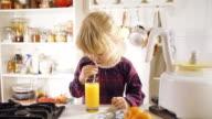 Drinking Homemade Orange Juice