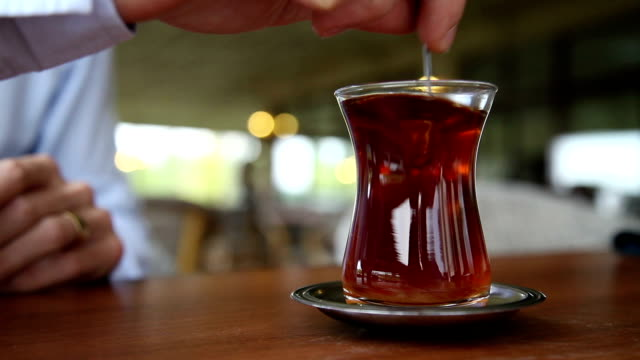 Drinking Turkish Tea in a Cafe.