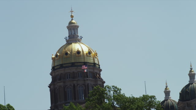 Drive by State of Iowa Capitol Building closeup gold dome