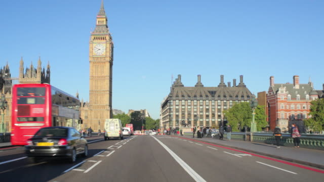 WS POV Driving across Westminster Bridge,Morning