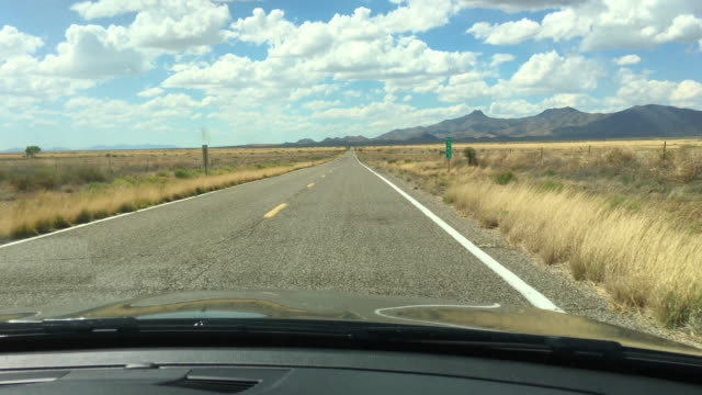 Driving along bumpy road towards Willcox AZ