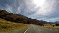 Driving along Mount Cook National Park POV