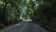 POV WS Driving along remote road in lush forest / St. Ann's Bay, Jamaica