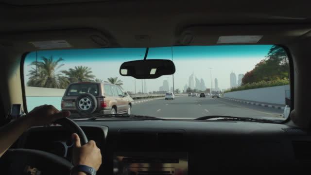 MS POV Driving along Sheikh Zayed Road / Dubai, United Arab Emirates