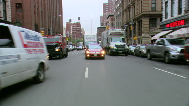 TS / REAR VIEW 90' Driving along West Broadway / Tribeca / New York City / New York