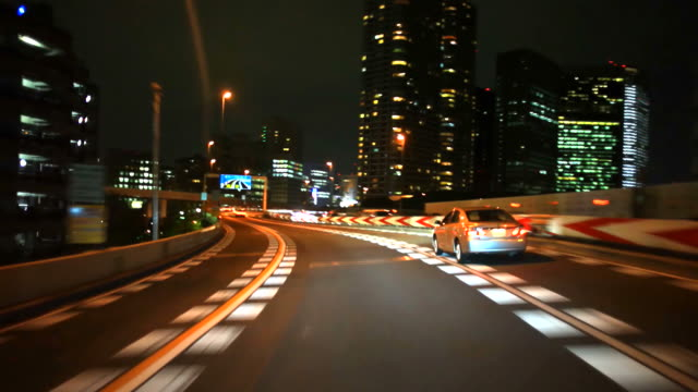 driving at night in Tokyo