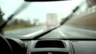 HD: Driving Car in The Rain