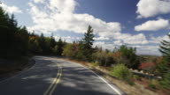 Driving down Caddillac mountain with the camera mounted to a car.