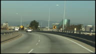 (HD1080i) Driving Freeway, Expressway, Motorway, Highway Transition Overpass: Los Angeles