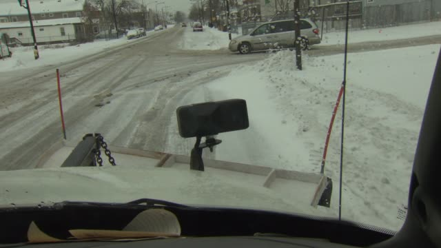 POV Driving From Inside Snow Plow on January 02 2014 in Harvey Illinois