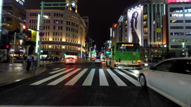 Driving Ginza street at night -4K