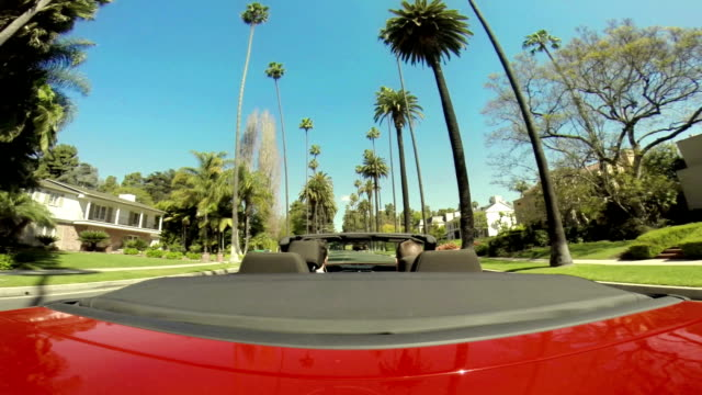 WS POV Driving In Beverly Hills Neighbourhood