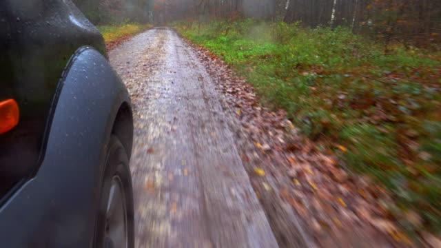 Autofahren In regnerischen Herbst Wald