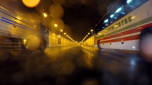 Driving in tunnel at rainy day -4K-