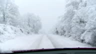 Driving On A Snowy Country Road