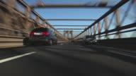 POV Driving on Brooklyn Bridge from Brooklyn to Lower Manhattan, New York City, New York, USA