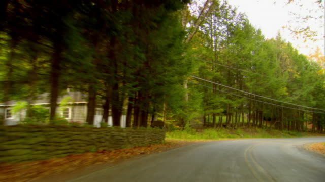 REAR POV, Driving on country road in Autumn, Phoenicia, New York, USA