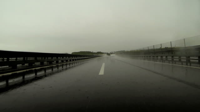 Driving on Rainy Highway POV