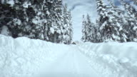 Driving On Snowy Mountain Road