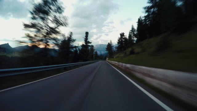 Driving on the Dolomites European Alps