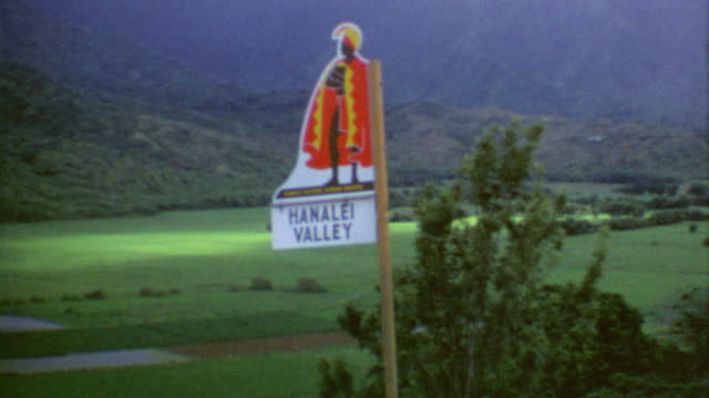Driving on the Island / Hanalei Valley Signage / Panorama of Settlement / Hanalei River / Hanalei National Wildlife Refuge on August 01 1975 in...