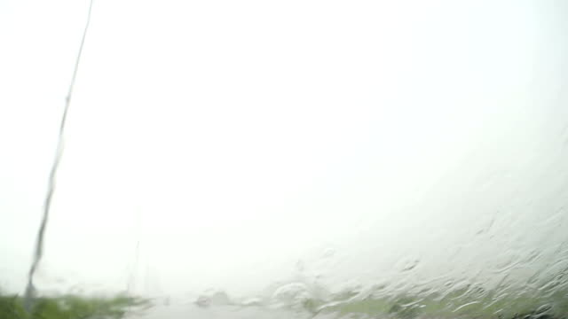 Driving the Car on Highway During Rainy Season