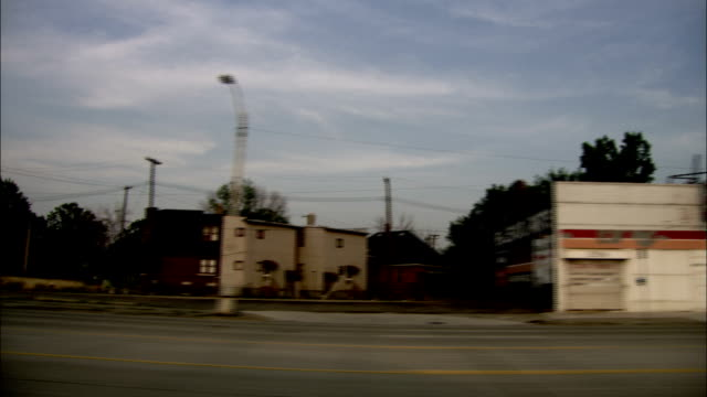 Driving through quiet streets of Detroit. Available in HD.