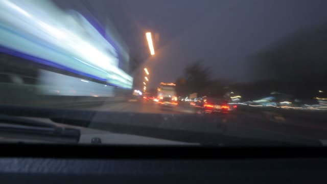 Driving timelapse from car interior