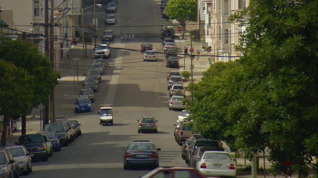 POV Driving up steep hill, San Francisco, California, USA