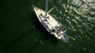 Drone Aerial of a Boat in Harbor