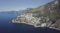 Drone aerial view of Amalfi coast and Sorrento peninsula