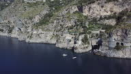 Drone aerial view of fjord of Furore on Amalfi coast