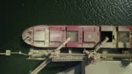 Drone birdseye footage of a bulk carrier at the Cargill grain port by the Tapajos river in Santarem Amazonian state of Para Brazil on August 22 2017...