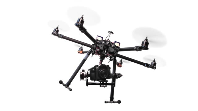 Drone flying on white background