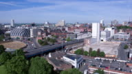 Drone footage of roads systems and city centre skyline of Leeds