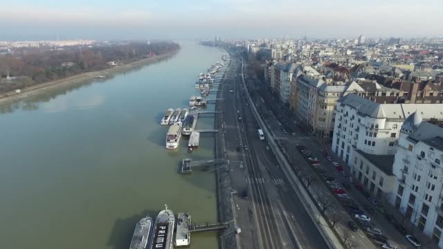 Drone footage of the Budapest skyline over the Danube in Budapest Hungary on Monday February 8 2016