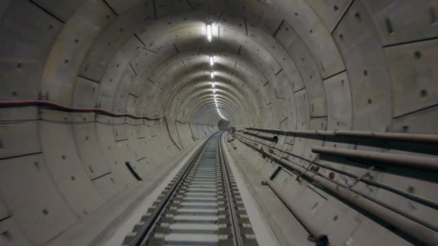 Drone footage of the Crossrail tunnels on April 28 2017 in London England The Elizabeth Line is the new Crossrail train link running 73 miles between...
