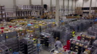 Drone footage of workers in logistic center