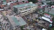 Drone images show extent of damage after Mexican school Enrique Rebsamen collapsed crushing 21 children aged between seven and 13 and five adults and...
