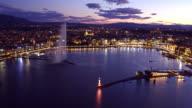 drone shot of sunset Geneva cityscape